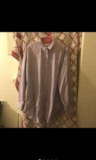 🚚 Niko and 全新 紫色 長版 長袖 條紋襯衫 薄襯衫