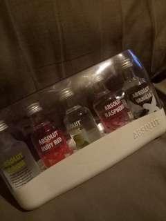Miniature absolute vodka 5 bottles set brand new