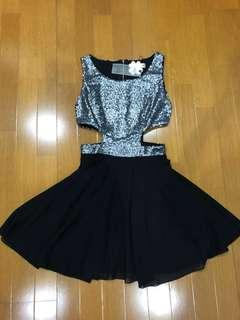 (New) Silver sequin black dress