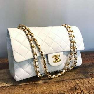Authentic Chanel Classic White Double Flap Bag with 24k Gold Hardware