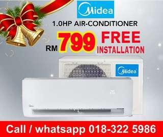 Midea Aircond 1hp RM799 FREE Installation