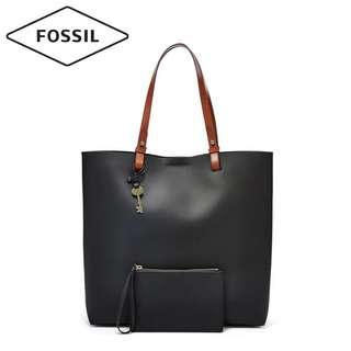Fossil women leather tote bag