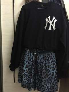 藍色衛衣豹紋連身裙 blue hoodie animal print dress one piece