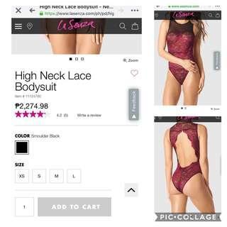 High neck lace bodysuit