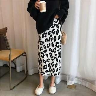 豹紋針織簡約撞色百搭毛料長裙