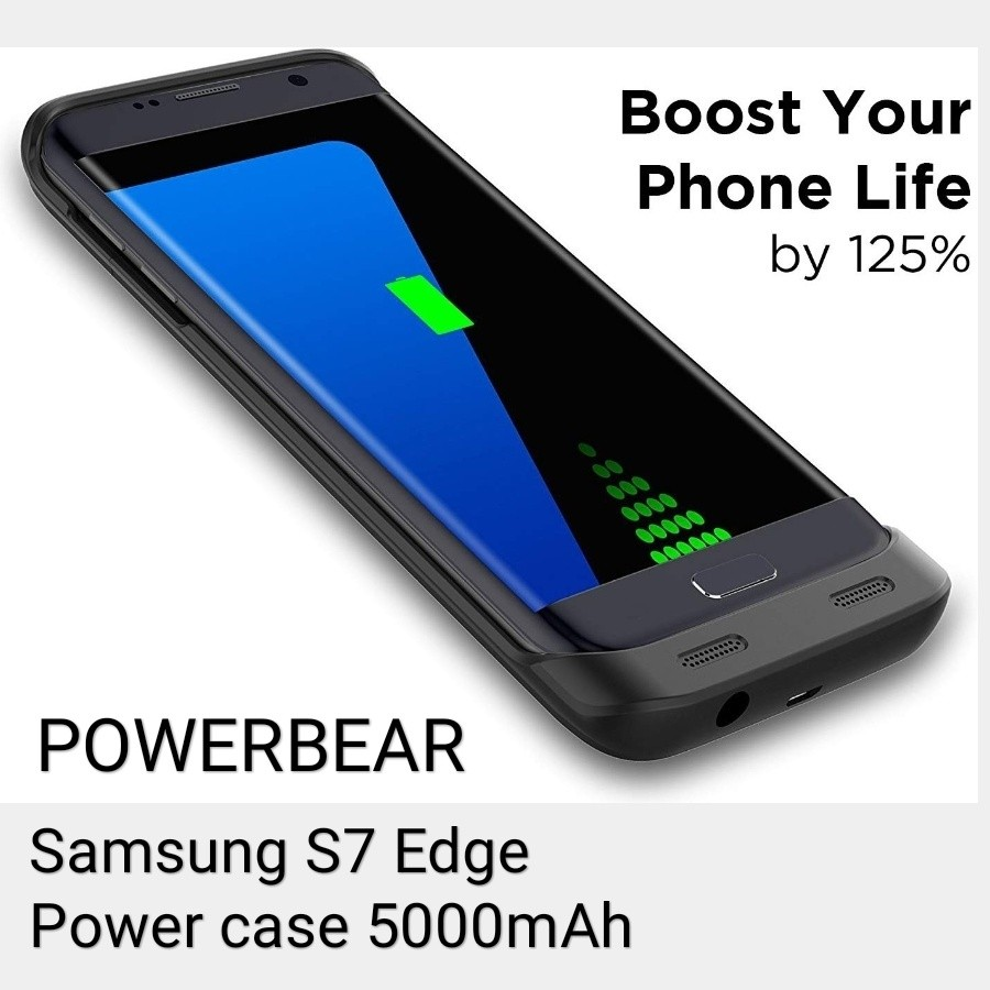 sports shoes 18de6 82df7 PowerBear S7 Edge Battery Case 5000 mAh High Capacity External Battery  Charger for The Samsung Galaxy S7 Edge - Black, include a Screen Protector