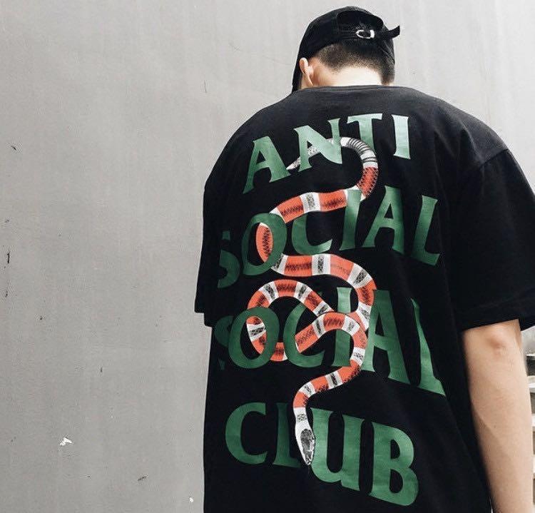 2530f39933b Anti social club x gucci snake, Men's Fashion, Clothes, Tops on Carousell