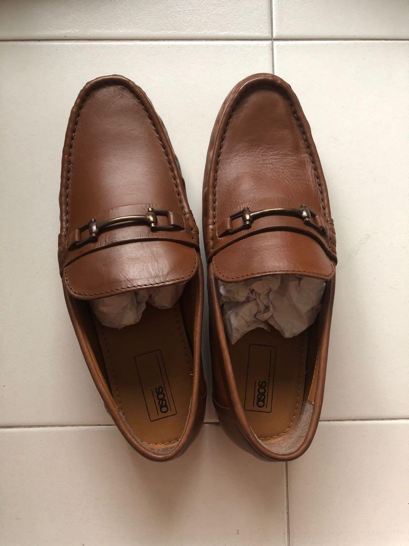 Asos design wide fit Loafers in Tan