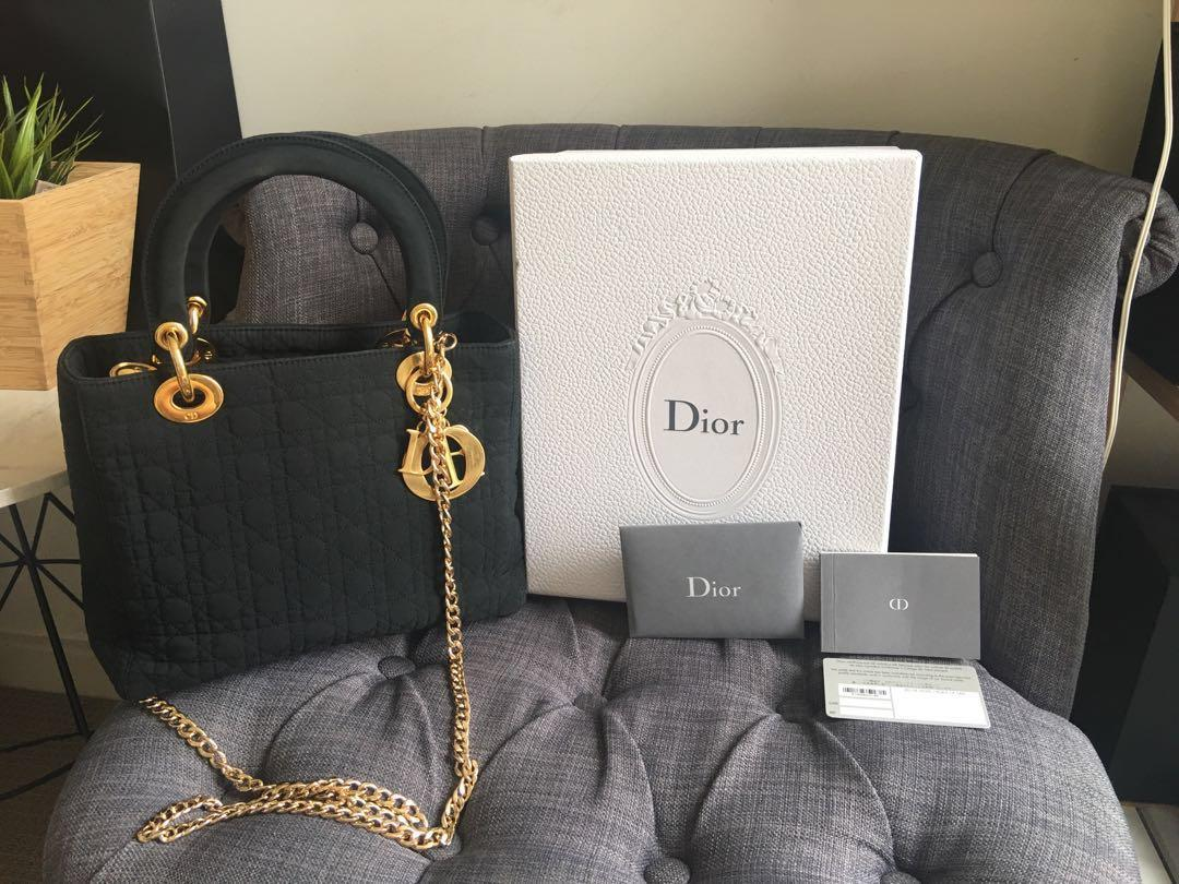 Authentic Lady Dior Bag with box authenticity Card and Manual