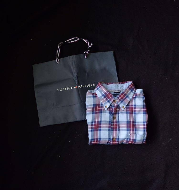 d5698d52 Authentic Tommy Hilfiger Checkered Short Sleeve Shirt, Men's Fashion ...