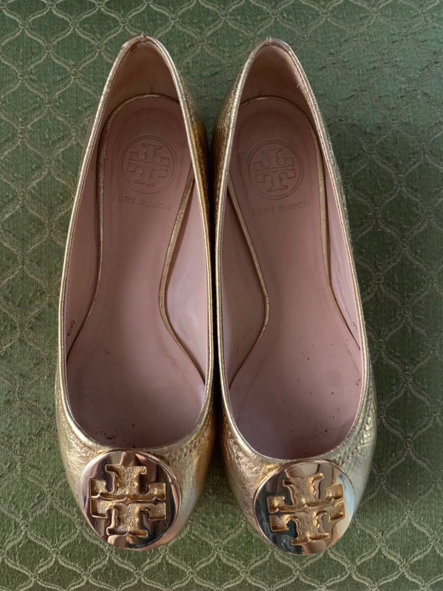 71369e7e30f57e Authentic Tory Burch Minnie Travel Ballet Flats Gold Size 5 1 2c ...