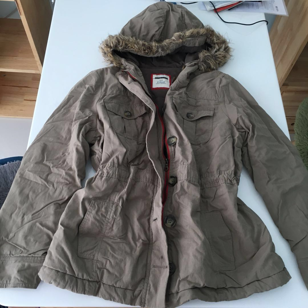6e166d33ee912 BNWOT Old Navy Ladies Military Style Fur Hooded Winter Jacket Khaki ...