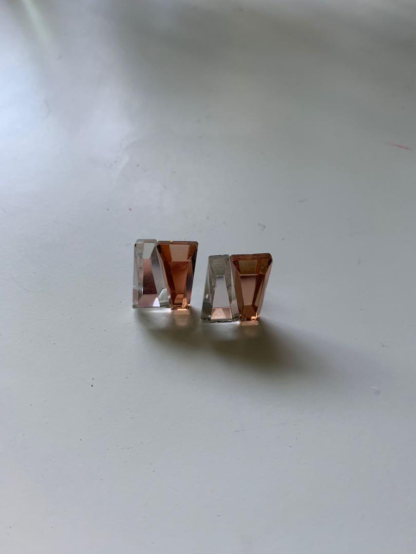 duo crystal earrings