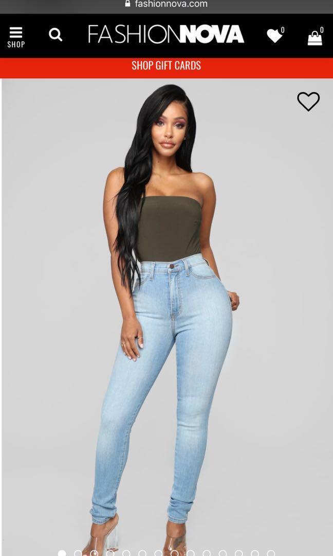 Fashionnova Classic high waist skinny jeans - Light Blue
