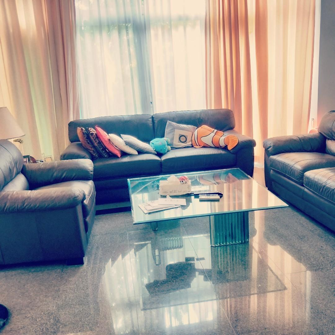 Full Leather 3 2 1 Sofa Set For Sale Furniture Sofas On Carousell