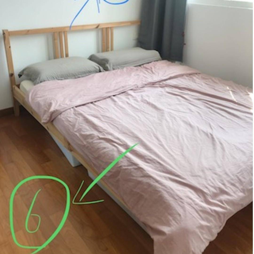 Ikea Wood Bed Frame Queen Size Used Furniture Beds Mattresses On Carousell