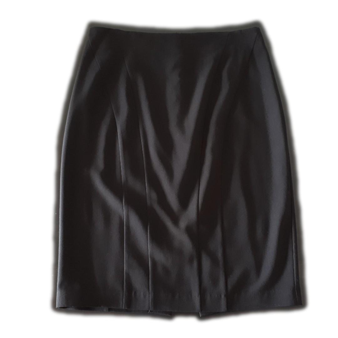 Portmans Pencil Skirt with Front Panelling, Black, Size 12