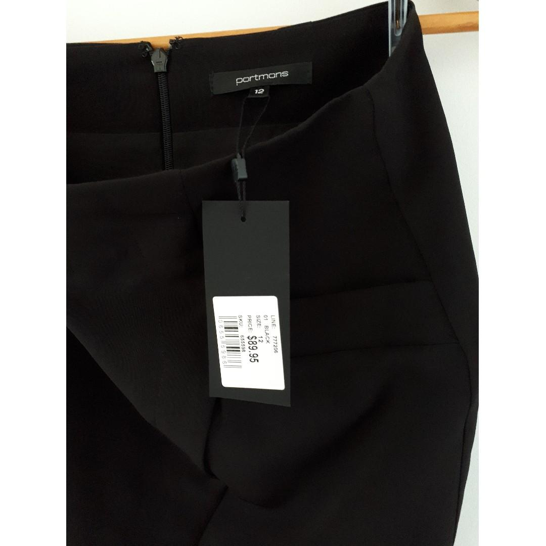 Portmans Pencil Skirt With Split, Black, Size 12, NWT