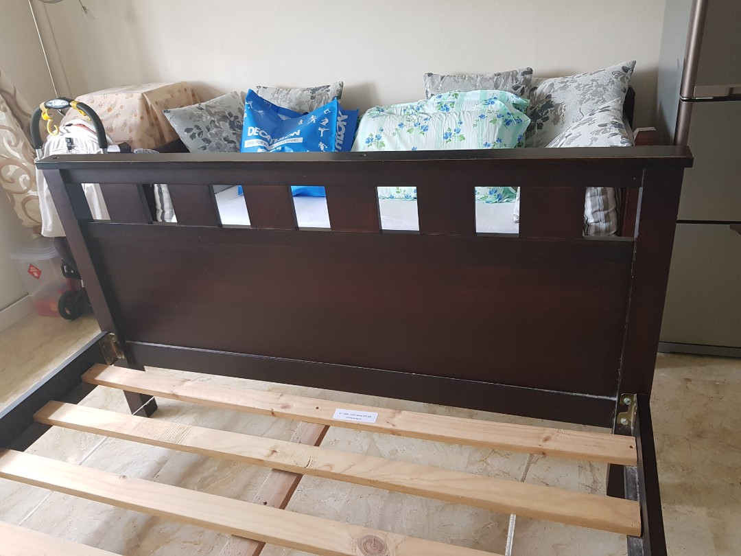 To Bless Preloved Queensize Teak Bed Frame Only Furniture Others