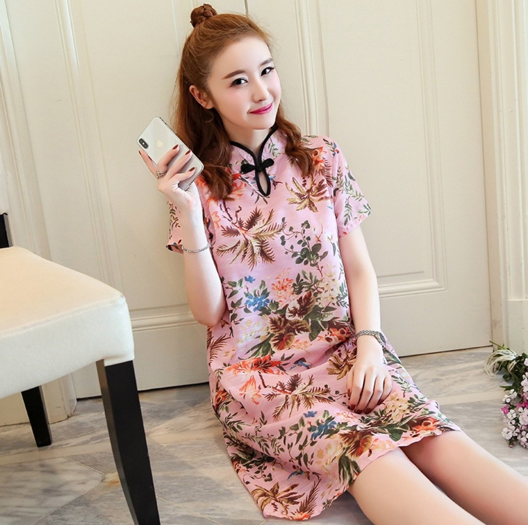 df63e9df40f9d S-4XL Pink Floral Cheongsam Cheong Sam Chinese New Year CNY New ...