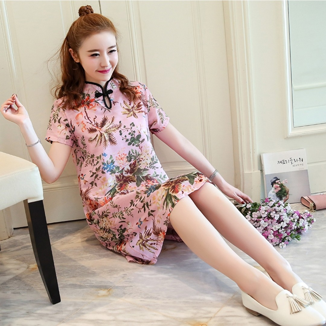 bd9c555c5e24b7 S-4XL Pink Floral Cheongsam Cheong Sam Chinese New Year CNY New ...