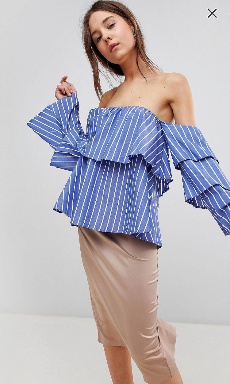a9e39a8f671b4c Striped Off Shoulder Top
