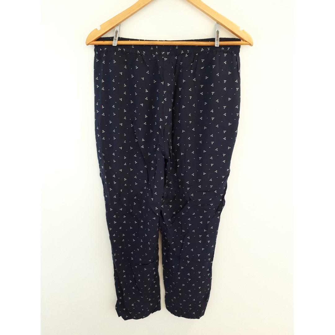 Target Tapered Leg Printed Pants, Navy Print, Size 12