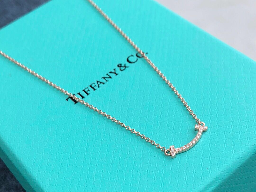 fc911ac9a Tiffany and co T smile pendant Mini size necklace, Women's Fashion ...