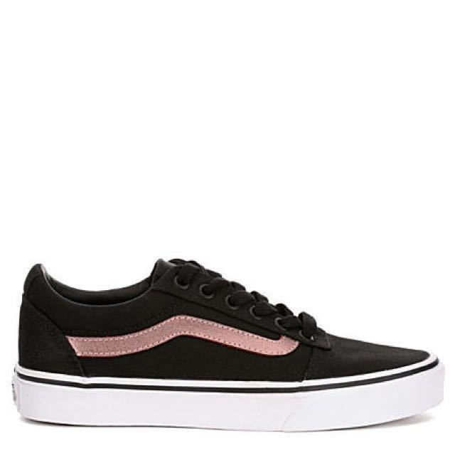 f0ab8171fc48f4 Vans Ward Canvas Black   Rose Gold Sneakers