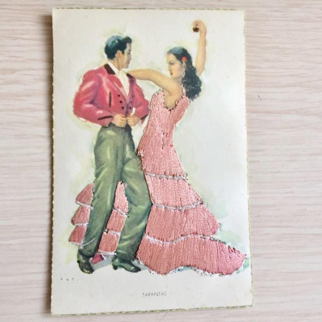 VINTAGE HAND EMBROIDERED CHRISTMAS CARD DANCING