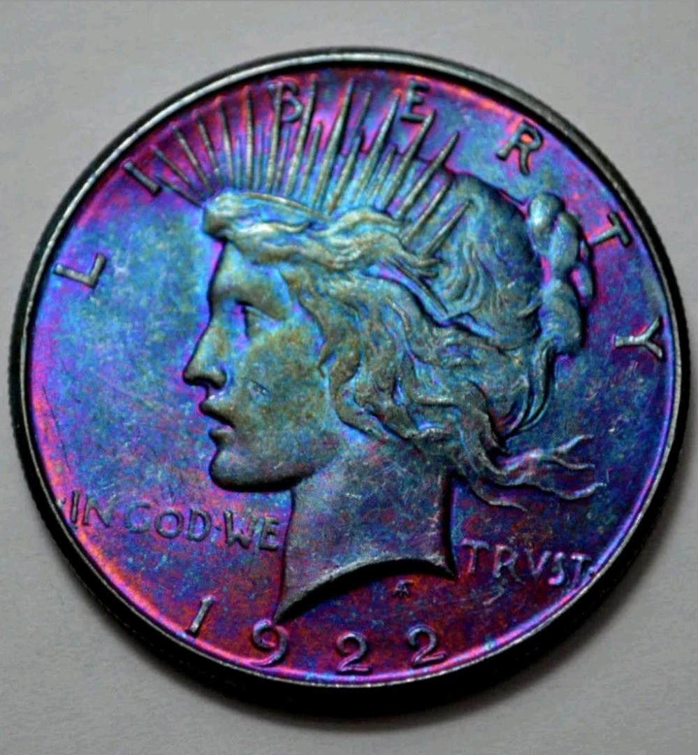 Year 1922-S Peace Dolar Superb Rainbow toned