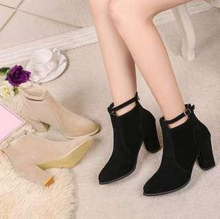 [PO] Buckled Suede Ankle Boots (Heels)