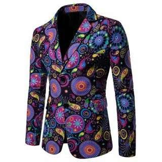 Men Coat Cotton Print Suit