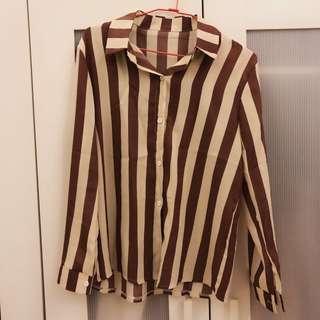🚚 氣質棉麻條紋上衣