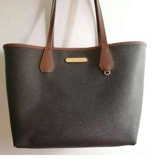 Pre-loved Authentic MK Reversible Tote Bag in Black/Brown