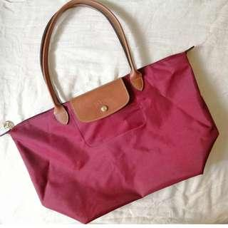 Pre-loved Authentic Long Champ Le Pliage Large in Maroon