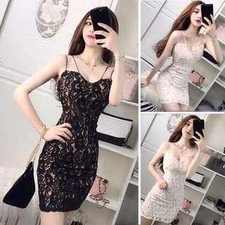 🚚 Lace Dress Black body con