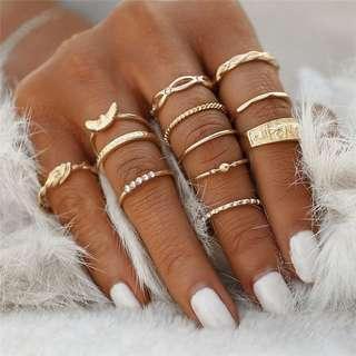12 Pcs Finger Charm Rings
