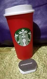 Starbucks red reusable cup