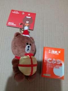 全新 line friends winter bag charm 熊大brown聖誕掛飾