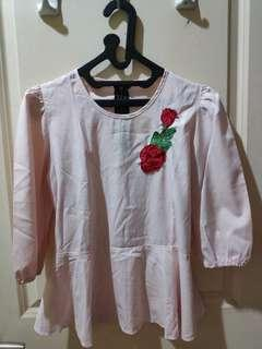 Peplum top shirt pink