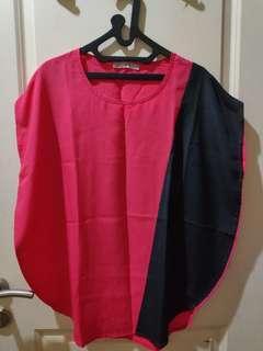 Batwing Giordano blouse top shirt atasan pink