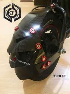 Ultra Light Weight 3K Matte or Glossy 100% Carbon Fiber 2-in-1 Tire Hugger and Mudguard for Tempo / DYU / Fiido