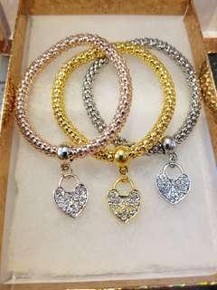 Rose gold, gold and silver heart bracelets