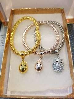 Gold, Rose gold and silver owl bracelets