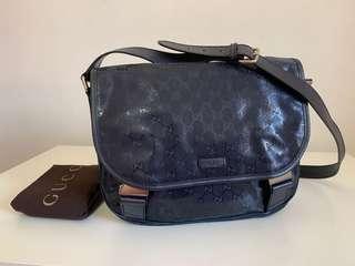 Authentic Gucci GG Imprime Messenger Blue Bag