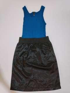 Dress biru mini murah