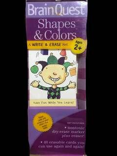 Brain quest shapes and colours a write and erase set ages 2+