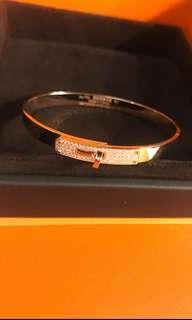 Hermes Kelly rose gold diamond bangle at $9900 Only!