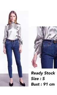 Silver Top   baju silver long sleeve lengan panjang atasan wanita baju cewekp
